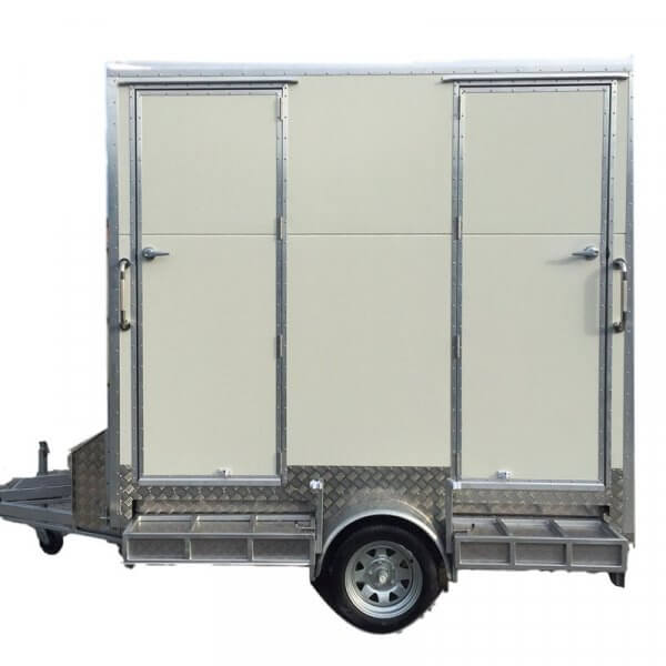 2 bay portable toilet unit.